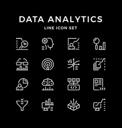 Set line icons data analytics vector