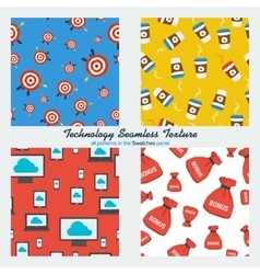 Set of four technology seamless patterns vector image