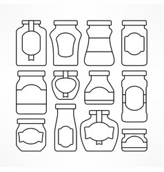 set of glass jars with labels vector image