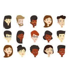 set of multicultural women and men vector image