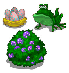 Set of toad bush with berries and nest with eggs vector