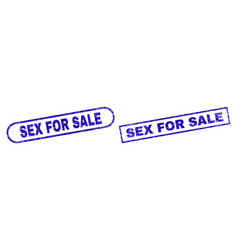 Sex for sale blue rectangle stamp with corroded vector