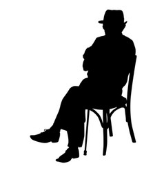 Silhouette of an old man with a cane sitting on a vector