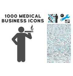 Smoking Man Icon with 1000 Medical Business vector