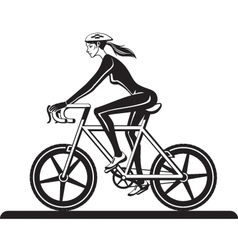 Sporty girl training with bicycle vector