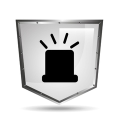 Symbol alert alarm shield steel design vector