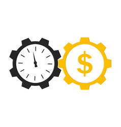 Time is money icon with clock and cog logo vector