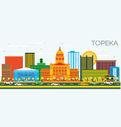 Topeka kansas usa skyline with color buildings vector