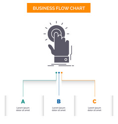 touch click hand on start business flow chart vector image
