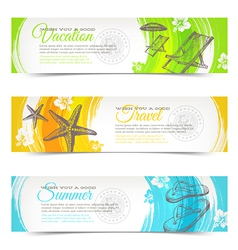 Travel and vacation hand drawn banners vector