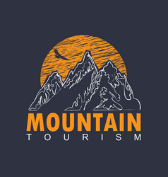 travel banner with mountains sun and flying eagle vector image