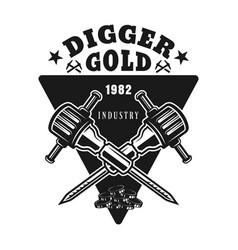 two jackhammers gold digger emblem vector image