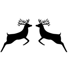 two reindeer leap towards each other vector image