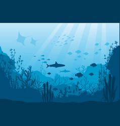 underwater ocean fauna deep coral reef algae vector image