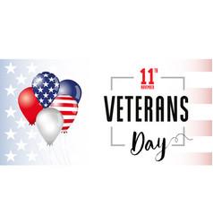 veterans day usa flag balloons banner vector image