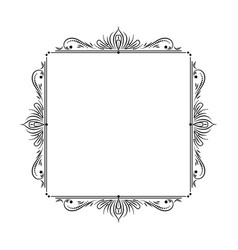 Vintage square stylish black frame with lotus vector