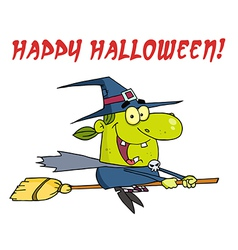 Wicked Halloween Witch Flying With Text vector