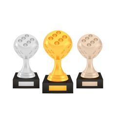 winner dice awards set gold silver bronze trophy vector image