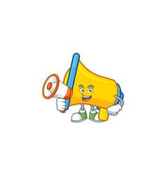 With megaphone yellow loudspeaker cartoon vector