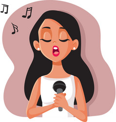 woman singing into a microphone character vector image