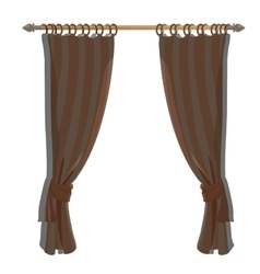 Brown kitchen curtains on the ledge decor vector image vector image