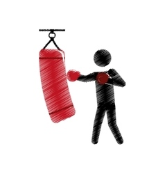 drawing colored silhouette boxer trainer punching vector image