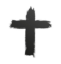 hand drawn black grunge cross icon simple vector image vector image