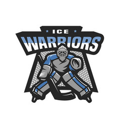 hockey goalkeeper logo emblem vector image
