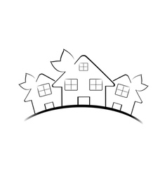 hree houses isolated on white vector image