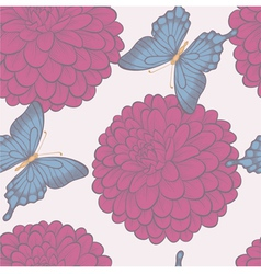 Seamless background with butterflies and flowers vector image vector image