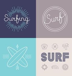 set of surfing logo design templates vector image vector image
