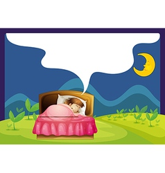 A girl sleeping in a bed vector image vector image