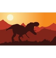 Dinosaur tyrannosaurus silhouette vector image vector image