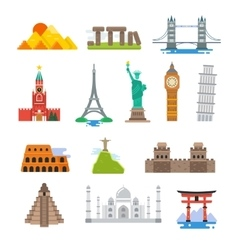 Famous architecture world travel landmarks vector