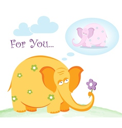 Funny pink elephant in love vector image