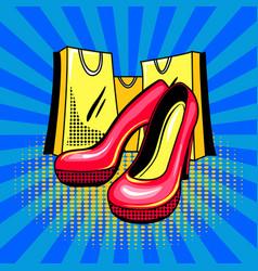 high heeled woman shoes pop art vector image