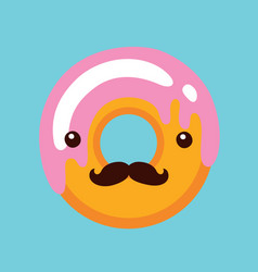 hipster donut with cute face and mustaches vector image vector image