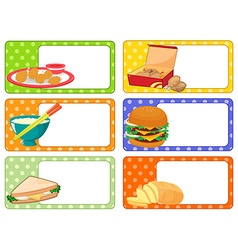 Label design with many kind of food vector image