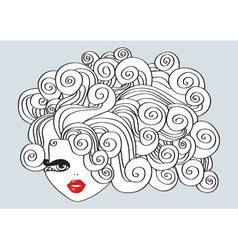 Nice girl with curly hair and red mouthvector illu vector