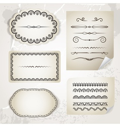 Vintage calligraphic elements on old paper vector image