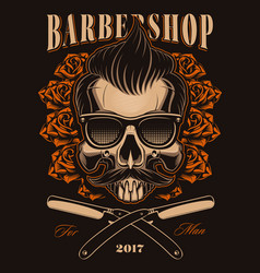 barber skull with roses vector image