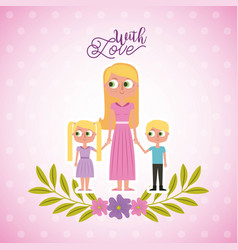 blonde mother holding her childs with love card vector image
