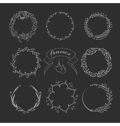 Christmas hand drawing wreath and ornament wedding vector image vector image
