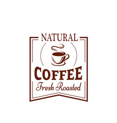 coffee cup label for food and drink design vector image vector image