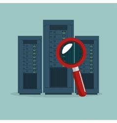 data center server searching icon graphic vector image