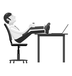 Manager sits on chair and feet on table icon vector image vector image
