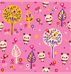 panda bears and birds in forest seamless pattern vector image vector image