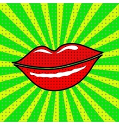 red lips on a green background vector image