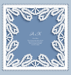 square frame with bobbin lace border decoration vector image vector image