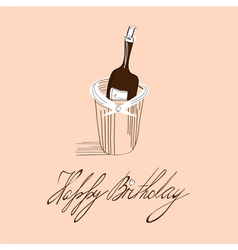 template for birthday card with inscription happy vector image